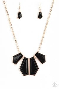 "Paparazzi ""Get Up and GEO"" Gold Frame Black Faceted Bead Necklace & Earring Set Paparazzi Jewelry"