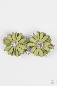 "Paparazzi ""Daisy Darling"" Green Flower Beaded Center Set of 2 Flower Hairband Clip Paparazzi Jewelry"