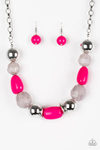 "Paparazzi ""South Shore Sensation"" Pink and Faceted Silver Bead Necklace & Earring Set Paparazzi Jewelry"