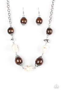 "Paparazzi ""Earth Goddess"" White Crackle Stone Brown Wooden Bead Necklace & Earring Set Paparazzi Jewelry"