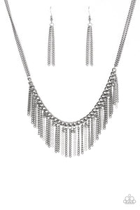 "Paparazzi ""Retro Edge"" Black Gunmetal and Silver Chain Fringe Necklace & Earring Set Paparazzi Jewelry"