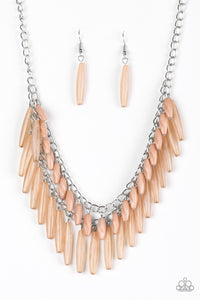 "Paparazzi ""Speak Of The DIVA"" Brown Faceted and Opaque Bead Silver Necklace & Earring Set Paparazzi Jewelry"