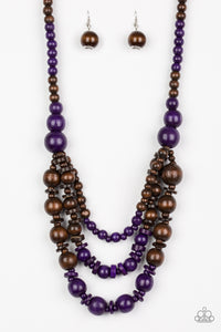 "Paparazzi ""Rio Rainbows"" Purple and Brown Wooden Bead Necklace & Earring Set Paparazzi Jewelry"