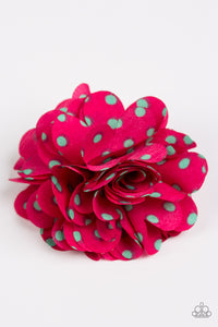 "Paparazzi ""Polka and Petals"" Pink with Green Polka Dot Flower Hairband Clip Paparazzi Jewelry"