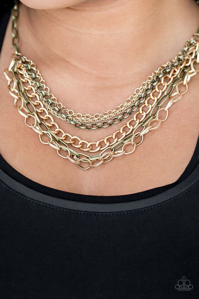 Paparazzi Quot Word On The Street Quot Brass And Gold Multi Chain