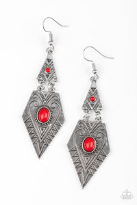 "Paparazzi ""Drifting Dunes"" Red Bead Silver Geometric Tribal Earrings Paparazzi Jewelry"