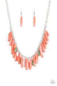 "Paparazzi ""Speak Of The DIVA"" Multi Coral Green and White Opaque Bead Silver Necklace & Earring Set Paparazzi Jewelry"