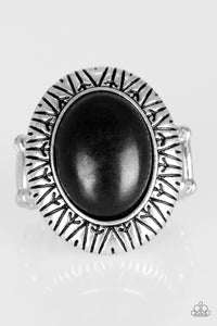 "Paparazzi ""Surfin Sand Dunes"" Black Stone Tribal Etched Silver Ring Paparazzi Jewelry"