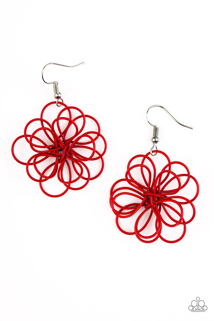 Paparazzi Quot Midsummer Magic Quot Red Wire Flower Earrings