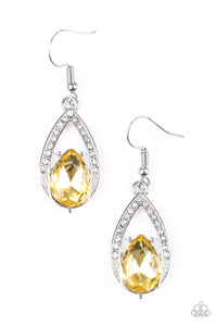 "Paparazzi ""Gatsby Grandeur"" Yellow Gem White Rhinestone Silver Teardrop Earrings Paparazzi Jewelry"