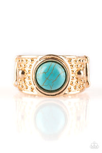 "Paparazzi ""Summer Oasis"" Gold Antiqued Frame Blue Turquoise Stone Ring Paparazzi Jewelry"