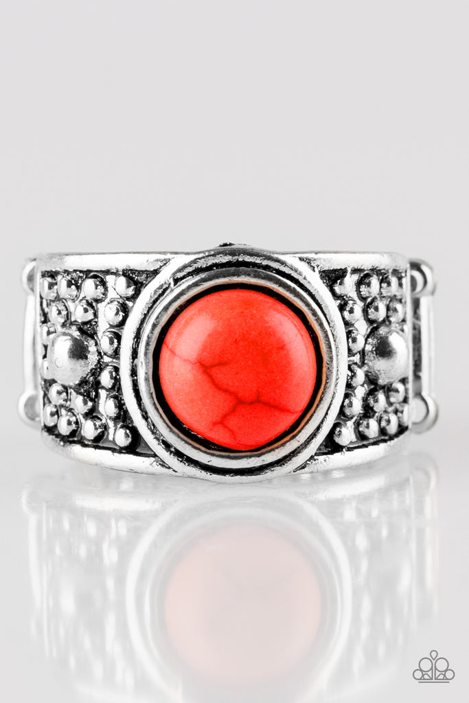 Paparazzi Quot Summer Oasis Quot Red Stone Antiqued Silver Ring