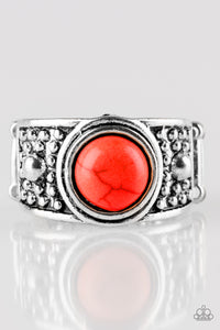 "Paparazzi ""Summer Oasis"" Red Stone Antiqued Silver Ring Paparazzi Jewelry"