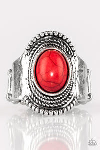 "Paparazzi ""Modern Mesa"" Red Stone Antiqued Silver Ring Paparazzi Jewelry"