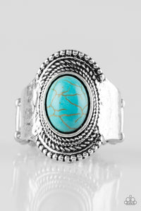 "Paparazzi ""Modern Mesa"" Blue Stone Antiqued Silver Ring Paparazzi Jewelry"