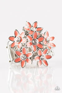 "Paparazzi ""Blooming Bouquets"" Orange Finish Daisy Flower Silver Ring Paparazzi Jewelry"