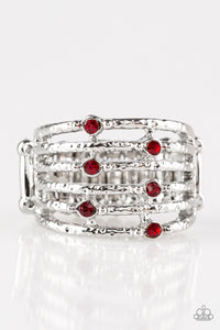 "Paparazzi ""Scale Up"" Red Rhinestone Silver Hammered Bar Ring Paparazzi Jewelry"
