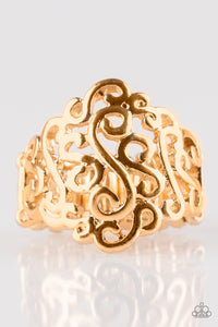 "Paparazzi ""Dizzy Demure""  Gold Filigree Stretchy Band Ring Paparazzi Jewelry"