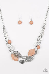 "Paparazzi ""Second Nature"" Brown Stone Silver Etched Disc Necklace & Earring Set Paparazzi Jewelry"
