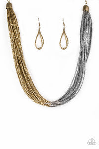 "Paparazzi ""Flashy Fashion"" Brass and Gunmetal Seed Bead Necklace & Earring Set Paparazzi Jewelry"