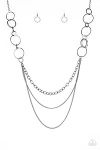 "Paparazzi ""RING Down The House"" Black Gunmetal Hoop Necklace & Earring Set Paparazzi Jewelry"