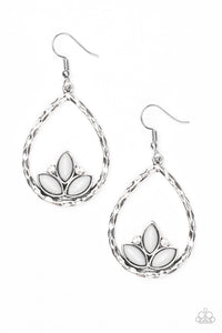 "Paparazzi ""Lotus Laguna"" Silver Teardrop Hoop Gray Bead Earrings Paparazzi Jewelry"