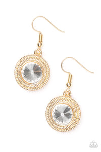 "Paparazzi ""Beginners LUXE"" Gold Round Frame White Gem Earrings Paparazzi Jewelry"