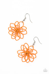 "Paparazzi ""Springtime Serenity"" Orange Wire Flower Design Earrings Paparazzi Jewelry"