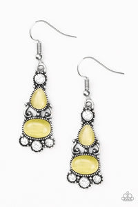 "Paparazzi ""Push Your LUXE"" Yellow Oval Moonstone White Rhinestone Silver Earrings Paparazzi Jewelry"