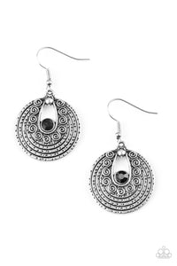"Paparazzi ""Majestically Mayan""Black Rhinestone Round Tribal Silver Earrings Paparazzi Jewelry"