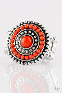 "Paparazzi ""Tide Pools"" Red Bead Round Silver Ring Paparazzi Jewelry"