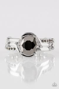 "Paparazzi ""Home is Where The Castle Is"" Silver Band Hematite Center & Smoky Rhinestone Ring Paparazzi Jewelry"