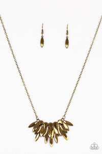 "Paparazzi ""Crowning Moment"" Brass Frame Aurum Marquise Cut Gem Pendant Necklace & Earring Set Paparazzi Jewelry"
