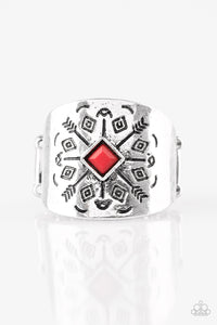 "Paparazzi ""Here Today, Gone Tom-ARROW"" Red Bead Arrow Patter Silver Ring Paparazzi Jewelry"
