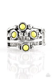 "Paparazzi ""Beach House Party"" Green Bead Silver Studded Ring Paparazzi Jewelry"