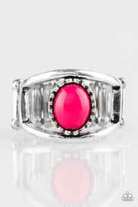"Paparazzi ""Summer Tour"" Pink Bead Airy Silver Frame Ring Paparazzi Jewelry"