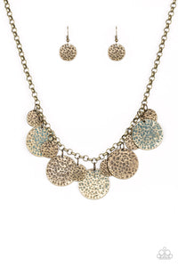 "Paparazzi ""Treasure Huntress"" Brass Hammered Patina Plate Necklace & Earring Set Paparazzi Jewelry"