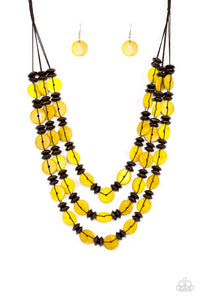 "Paparazzi ""Key West Walkabout"" Yellow Wooden Disc Brown Bead Necklace & Earring Set Paparazzi Jewelry"