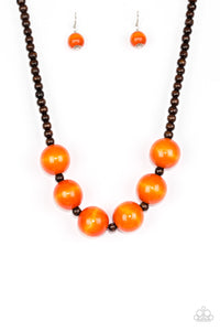 "Paparazzi ""Oh My Miami"" Orange and Brown Wooden Bead Necklace & Earring Set Paparazzi Jewelry"