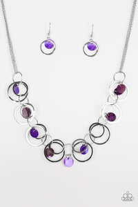 "Paparazzi ""A Hot SHELL-er"" Purple Shell Silver Ring Hoop Necklace & Earring Set Paparazzi Jewelry"