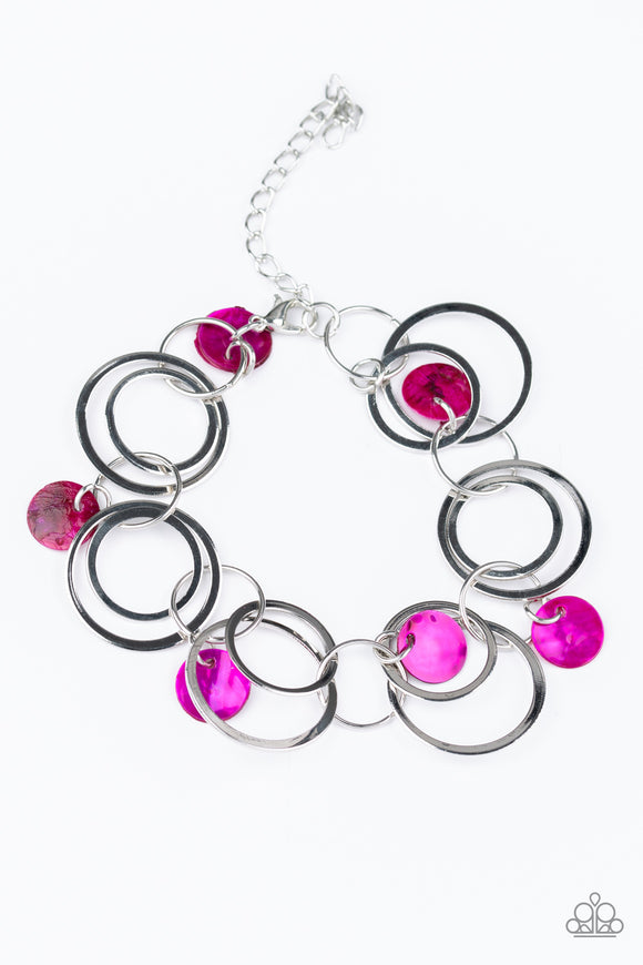Paparazzi Quot Total Shell Out Quot Pink Shell Silver Ring Hoop