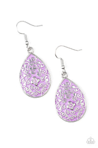 "Paparazzi ""Flirty Flower Girl"" Purple Center Floral Filigree Silver Earrings Paparazzi Jewelry"
