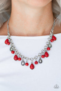 "Paparazzi ""Welcome To Bedrock"" Red Teardrop Stone Silver Necklace & Earring Set Paparazzi Jewelry"