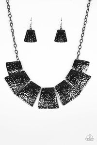"Paparazzi ""Here Comes The Huntress"" Black Gunmetal Flared Hammered Plate Necklace & Earring Set Paparazzi Jewelry"