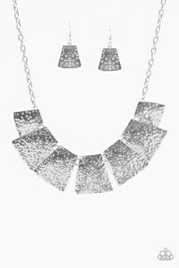 "Paparazzi ""Here Comes The Huntress"" Silver Flared Hammered Plate Necklace & Earring Set Paparazzi Jewelry"