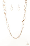 "Paparazzi ""Chain Cadence"" Gold Hoop Shiny Chain Necklace & Earring Set Paparazzi Jewelry"
