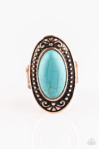 "Paparazzi ""Mesa Meadows"" Copper Frame Blue Stone Ring Paparazzi Jewelry"
