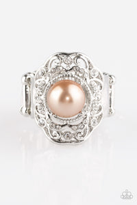 "Paparazzi ""Pearl Princess"" Brown Pearl White Rhinestone Silver Ring Paparazzi Jewelry"