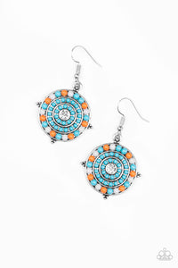 "Paparazzi ""Caribbean Cruzin"" Blue, Orange & Gray & Multi Color Bead Rhinestone Silver Earrings Paparazzi Jewelry"