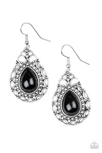 "Paparazzi ""Flirty Finesse""  Black Bead Shimmery Silver Earrings Paparazzi Jewelry"